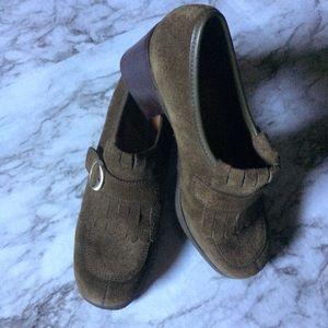 Enzo Angiolini Green Heeled Loafers